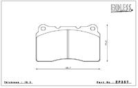 Тормозные колодки Endless Y-Sports EP357 (F506/906) Mitsubishi EVO V-IX CT9A GSR-RS, CZ4A brembo, Subaru GDB/GRB (WRX Sti brembo)